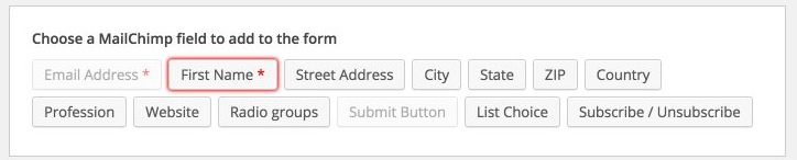 Available form fields based on MailChimp list fields