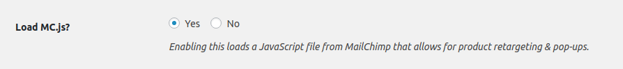 mc.js setting in WP Admin