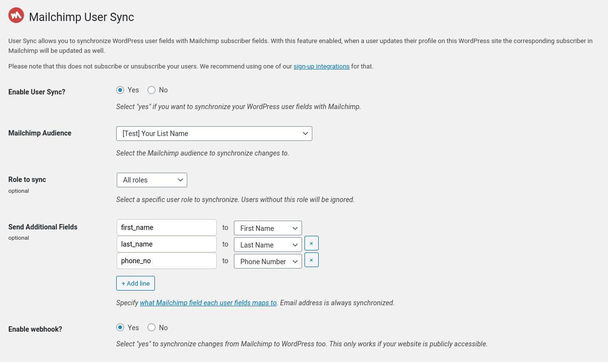 User Sync settings page in WP Admin