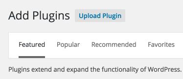 Screenshot of button to upload plugin files