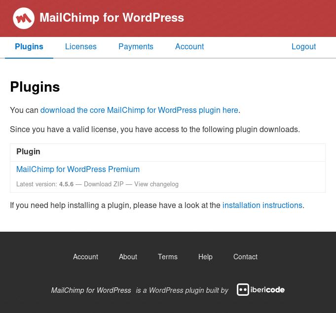 Screenshot of page to download Premium plugin files