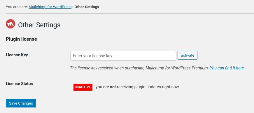 Screenshot of license settings form in Mailchimp for WordPress Premium